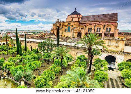 Cordoba Andalusia Spain. Mezquita Cathedral The Great Mosque medieval arab and spanish landmark.