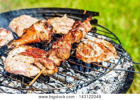 Barbecue grill with various kinds of meat close-up.