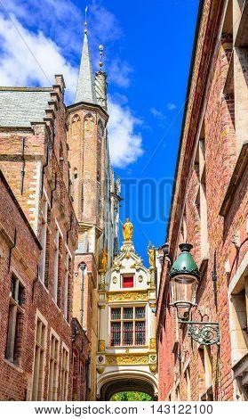 Bruges Belgium. Blind Donkey Alley in Brugge medieval city of Flanders.