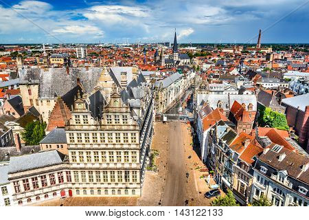 Gent Belgium. Skyline of Ghent (Gand) in West Flanders seen from Belfort tower with St. Jacob Church.