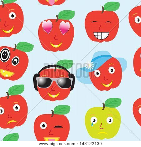 Seamless pattern smiles apples, many different smileys