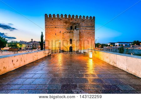 Cordoba Spain. Roman Bridge on Guadalquivir river Calahorra Tower and The Great Mosque (Mezquita Cathedral) at twilight in the city of Cordoba Andalusia.