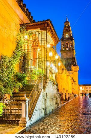 Cordoba Spain. The Great Mosque tower (Mezquita Cathedral) at twilight in the city of Cordoba Andalusia.