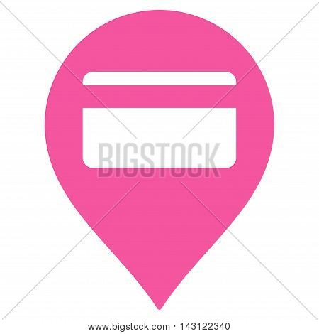 Credit Card Pointer icon. Vector style is flat iconic symbol with rounded angles, pink color, white background.