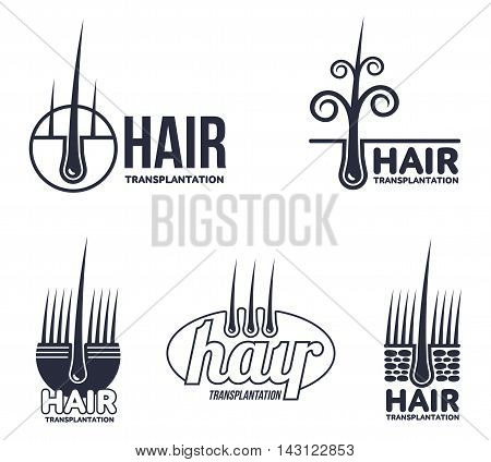 Set of hair transplantation logo templates, illustration isolated on white background. Hair loss treatment. Logos for medical hear transplantation centers