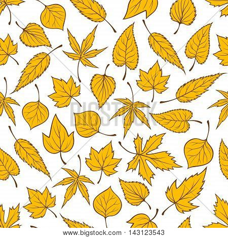 Yellow falling leaves seamless pattern background. Autumn foliage wallpaper with vector elements of maple, birch, aspen, elm, poplar