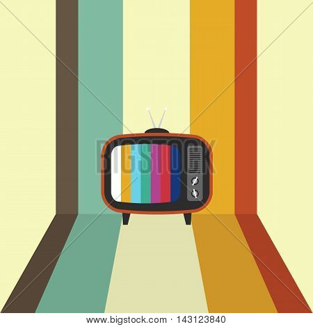 Retro vintage television flat design with stripe background vector illustration