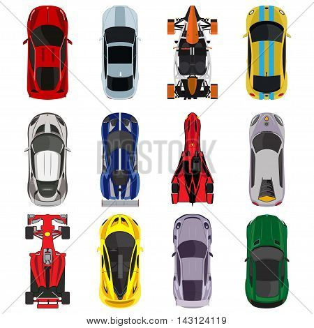 Sport and racing cars top view icons set isolated  vector illustration