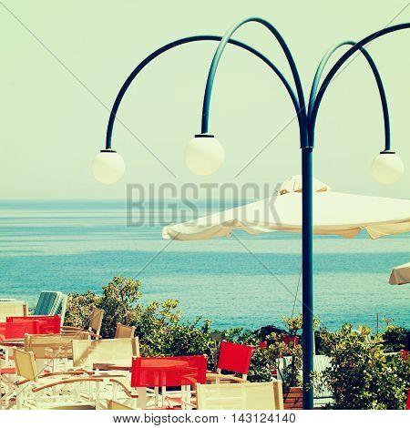 Greece coffee shop and sea impressions of Greece