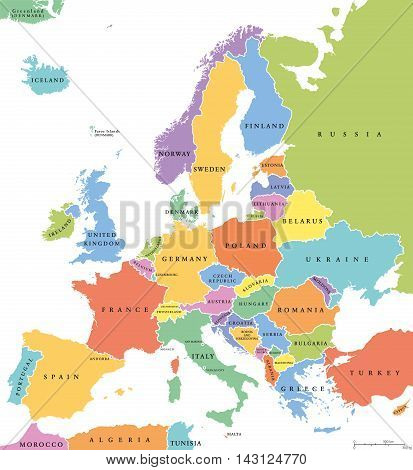 Europe single states political map. All countries in different colors, with national borders and country names. English labeling and scaling. Illustration on white background.