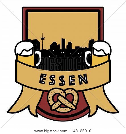 Symbol, German city, with abstract skyline, Essen, beer and pretzel, vector illustration