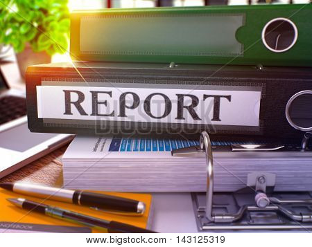 Black Ring Binder with Inscription Report on Background of Working Table with Office Supplies and Laptop. Report - Toned Illustration. Report Business Concept on Blurred Background. 3D Render.