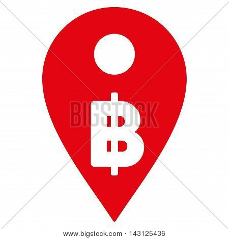 Thai Baht Map Marker icon. Vector style is flat iconic symbol with rounded angles, red color, white background.