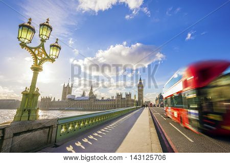 London, England - Westminster Bridge and Big Ben with Red Double Decker Bus