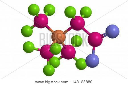 Molecular structure of betaine chemical compound 3D rendering