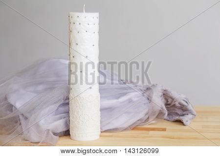 Decorative Handmade cylindrical shape candle with rhinestones