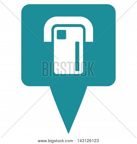 ATM Terminal Map Pointer icon. Vector style is flat iconic symbol with rounded angles, soft blue color, white background.