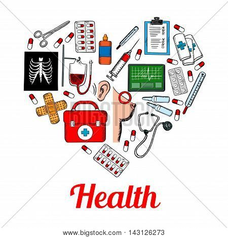 Medical symbols poster in heart shape. Hospital infographic with vector icons of health care equipment and medications heart, ear, breast, syringe, pill, x-ray, thermometer, stethoscope, ointment, bacterium