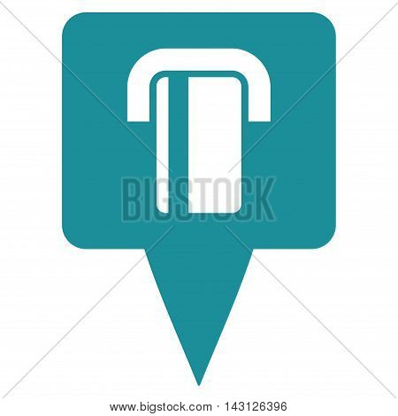 Bank Terminal Map Pointer icon. Vector style is flat iconic symbol with rounded angles, soft blue color, white background.