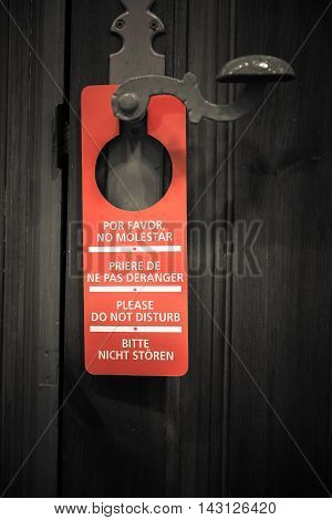Door sign hanger on a handle - Do Not Disturb
