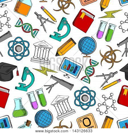 Science and knowledge seamless wallpaper. School and university education symbols. Background with pattern icons of globe, pencil, microscope, atom, dna, graphic, gene, molecule, book telescope chemicals