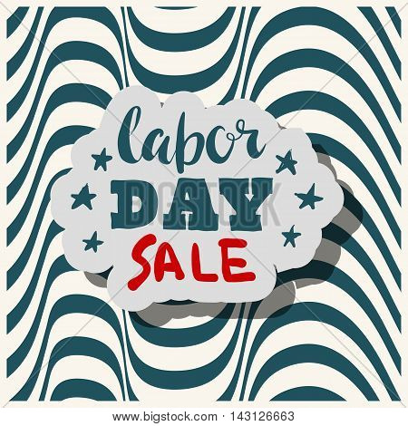 Happy Labours day inscription. Greeting card with calligraphy. Hand drawn on strip background. Typography for banner poster clothing design. Photo overlay letter. Labor day Vector illustration.