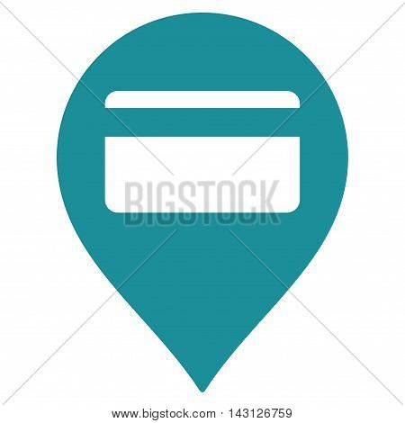 Credit Card Pointer icon. Vector style is flat iconic symbol with rounded angles, soft blue color, white background.