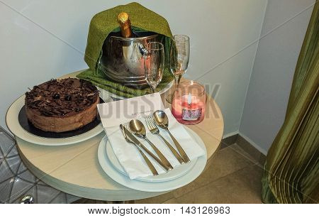 Chocolate cake and champagne given as an appreciation gift.