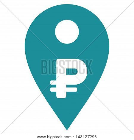 Rouble Map Marker icon. Vector style is flat iconic symbol with rounded angles, soft blue color, white background.