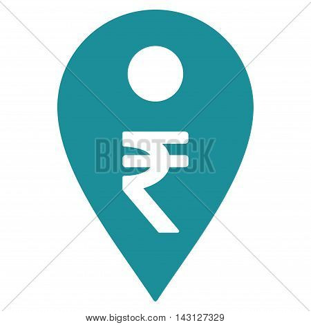 Rupee Map Marker icon. Vector style is flat iconic symbol with rounded angles, soft blue color, white background.
