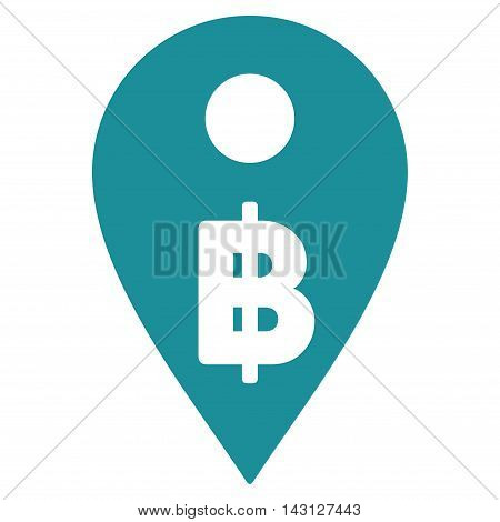 Thai Baht Map Marker icon. Vector style is flat iconic symbol with rounded angles, soft blue color, white background.