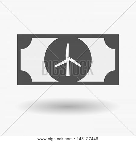 Isolated Bank Note Icon With A Wind Turbine