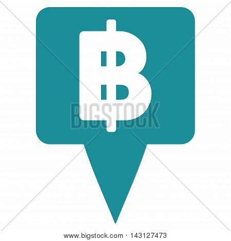 Thai Baht Map Pointer icon. Vector style is flat iconic symbol with rounded angles, soft blue color, white background.