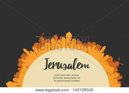 Holy City, Middle East Town, Jerusalem Vector illustration