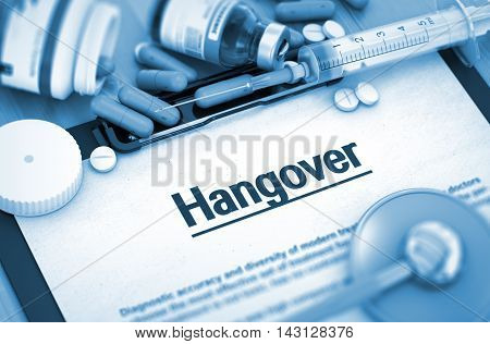 Hangover On Background of Medicaments Composition - Pills, Injections and Syringe. 3D Render.