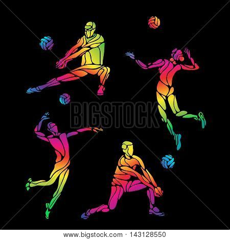 Vector volleyball players set, people silhouettes, summer game activity. Spectrum color silhouettes collection. Eps 8