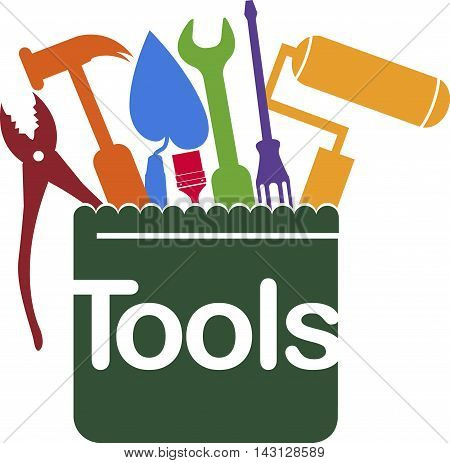 Illustration art of a service tools logo with isolated background