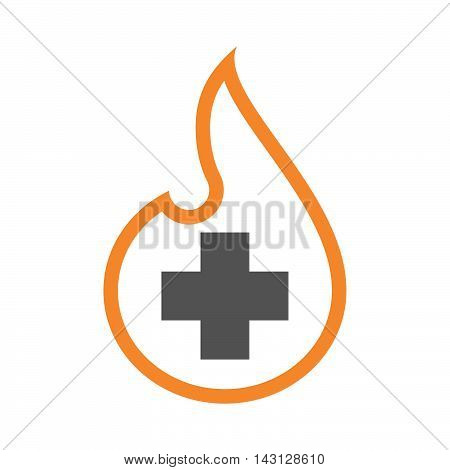 Isolated Isolated Line Art Flame Icon With A Pharmacy Sign
