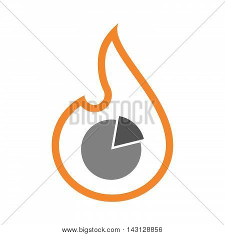 Isolated Isolated Line Art Flame Icon With A Shopping Cart