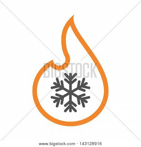 Isolated Isolated Line Art Flame Icon With A Snow Flake