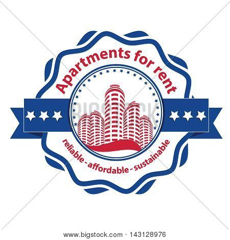 Apartments for rent - reliable, affordable, sustainable - bi-color stamp / ribbon for real estate agencies. Print colors used