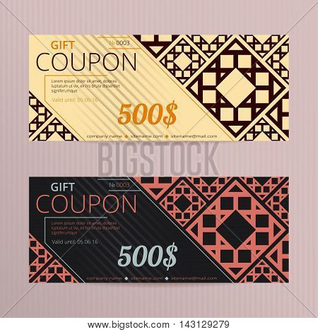 Gift voucher with elegant design. Gift card template. Coupon discount set. Voucher vector design. Coupon template with oriental design. Eastern ornament vouchers.