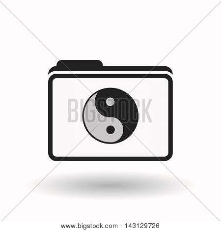 Isolated  Line Art  Folder Icon With A Ying Yang