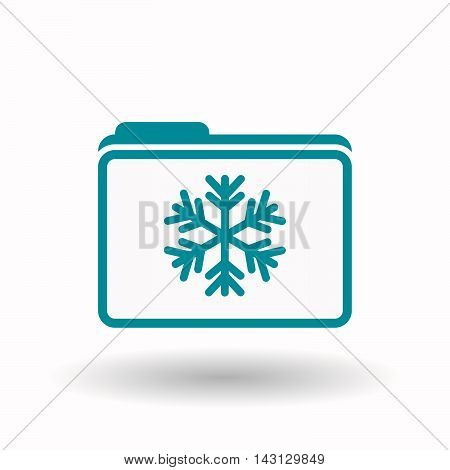 Isolated  Line Art  Folder Icon With A Snow Flake
