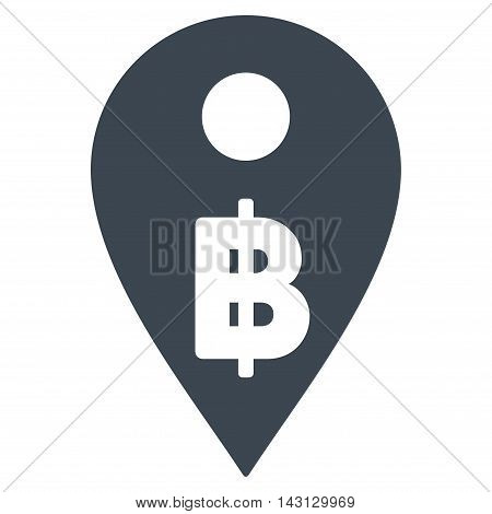 Thai Baht Map Marker icon. Vector style is flat iconic symbol with rounded angles, smooth blue color, white background.