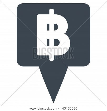 Thai Baht Map Pointer icon. Vector style is flat iconic symbol with rounded angles, smooth blue color, white background.