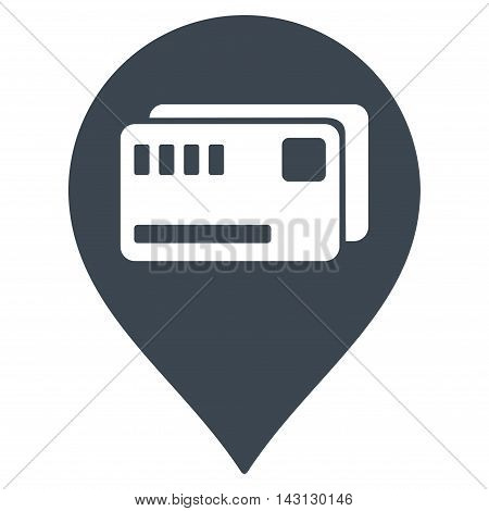 Tickets Map Marker icon. Vector style is flat iconic symbol with rounded angles, smooth blue color, white background.