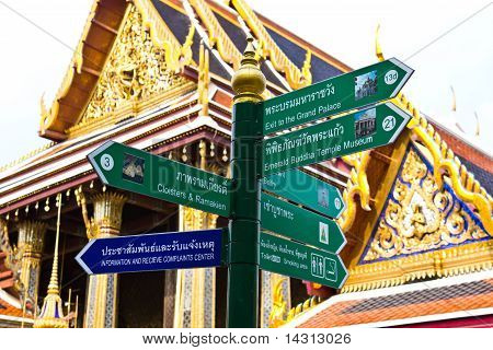 Tourist Guidepost In Temple Wat Phra Kaeo Thailand