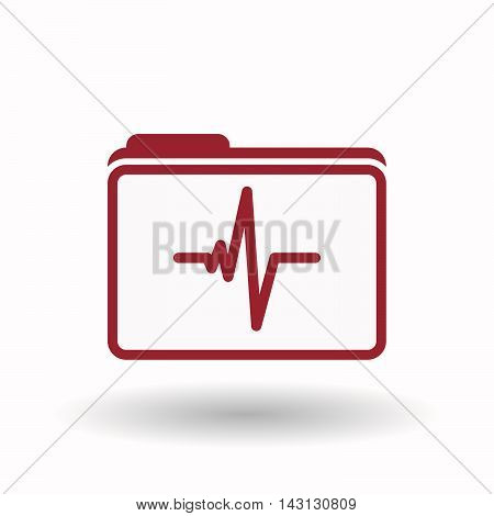 Isolated  Line Art  Folder Icon With A Heart Beat Sign