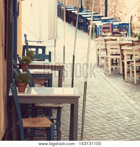 Retro coffee shop in Greece Crete impressions of Greece